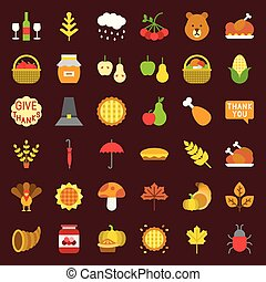 Thanksgiving and autumn related icon set, flat design on ...