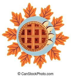 thanksgiving apple pie with maple leaf in white background ...