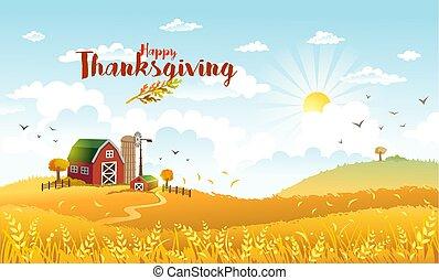 Thanksgiving autmn landscape with farm.