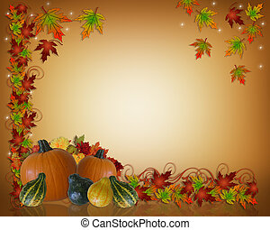 Image and Illustration composition for Thanksgiving invitation, border or background with copy space.
