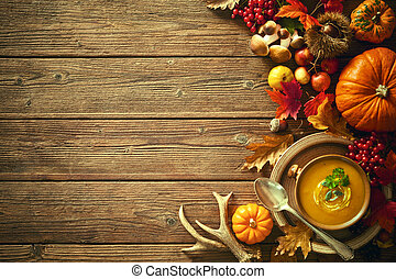 Thanksgiving autumn background with pumpkin soup