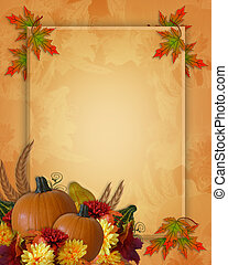 Image and Illustration composition for Autumn, Fall, Halloween or Thanksgiving invitation, border or background with copy space.