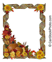 Image and Illustration composition for Halloween Autumn Fall or Thanksgiving invitation border or background with with decorative ribbons and copy space