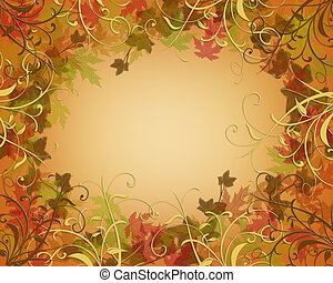 Thanksgiving Autumn Fall Border - Illustration composition...