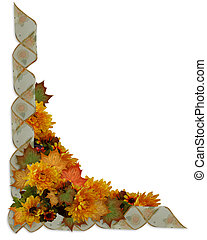 Illustration composition for Thanksgiving, autumn, fall, invitation, border, frame or background with leaves, flowers, ribbons and copy space.