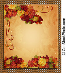 Image and Illustration composition for Autumn, Fall or Halloween, Thanksgiving invitation, border or background with copy space.