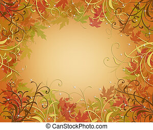 Thanksgiving Autumn Fall Border - Illustration composition...