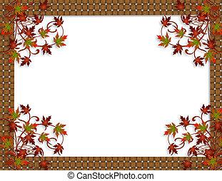Thanksgiving Autumn Fall leaves Border