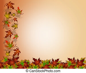 Thanksgiving Autumn Fall Leaves - Illustration composition...