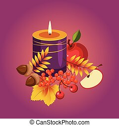 Thanksgiving Autumn Illustration with Candle, Berries and Apples, Vector