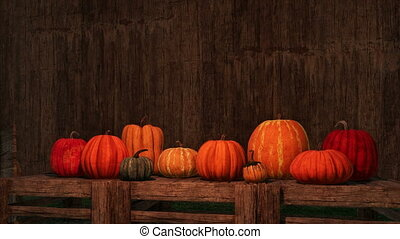 Thanksgiving autumn pumpkins empty wood background - Various...
