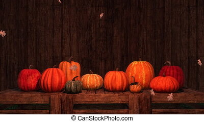 Thanksgiving autumn pumpkins festive 3D background - Various...