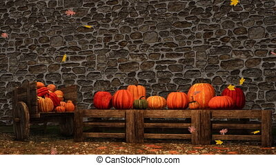 Thanksgiving autumn pumpkins stone wall background -...