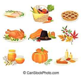 Thanksgiving Autumnal Holiday Composition with Agricultural Crops and Cooked Dishes Vector Set