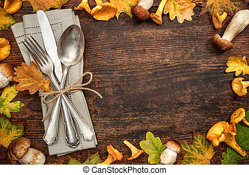 Thanksgiving autumnal table place setting