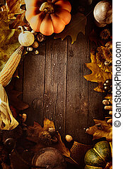 Thanksgiving background. Autumn fruit with Thanksgiving...