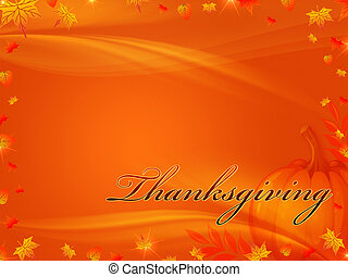Thanksgiving background - orange background with frame of...