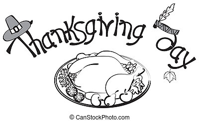 Thanksgiving background .Vector postcard with turkey