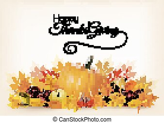Thanksgiving background with autumn fruit and leaves. Vector.
