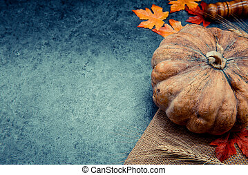 Thanksgiving background with fruit and vegetable on wood in autumn season. Copy space for text.