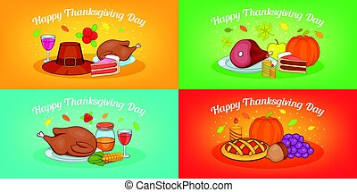 Thanksgiving banner set horizontal, cartoon style
