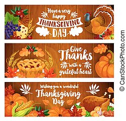 Thanksgiving banner set with turkey, cornucopia