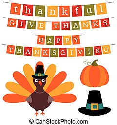 Thanksgiving banners and design elements set