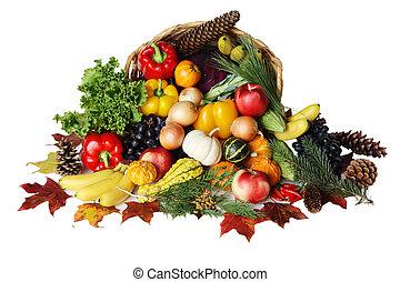 Thanksgiving Basket - Thanksgiving basket filled with autumn...