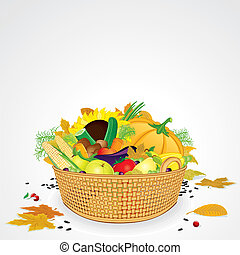 Thanksgiving Basket with Vegetables and Fruits