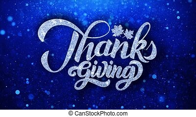 ThanksGiving Blue Text Wishes Particles Greetings,...
