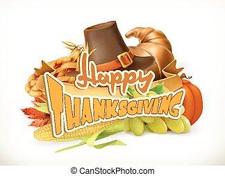 thanksgiving., card., 挨拶, invitation., ベクトル, ロゴ, 3d, 幸せ