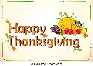 Thanksgiving Card - illustration of fruits and vegetable on ...