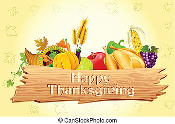 Thanksgiving Card - illustration of thanksgiving element ...