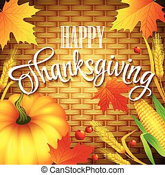 Thanksgiving Card wicker basket background. Vector...