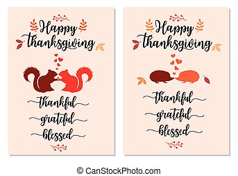 Thanksgiving cards with cute squirrels and hedgehogs, vector set
