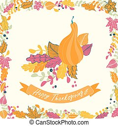 thanksgiving, carte, heureux