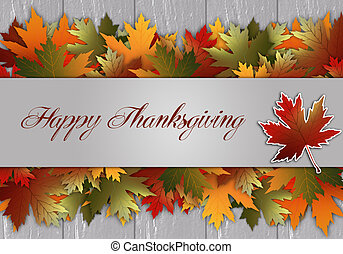 thanksgiving, carte postale, à, feuilles