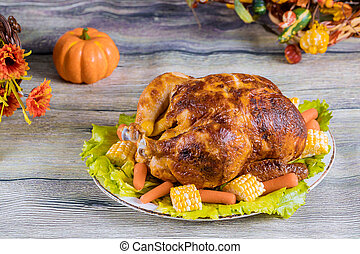 Thanksgiving celebration. Dinner with roasted turkey.