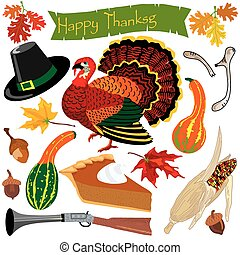 thanksgiving, clipart, icônes