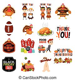Thanksgiving Cliparts Illustrations Icons - A vector...