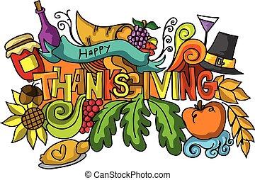 Thanksgiving color doodle art vector