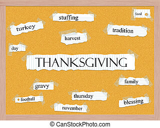Thanksgiving Corkboard Word Concept