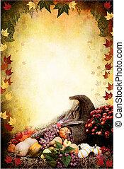 Thanksgiving Cornucopia - Photo based illustration of an...