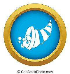 Thanksgiving cornucopia icon blue isolated
