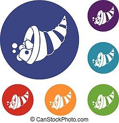Thanksgiving cornucopia icons set