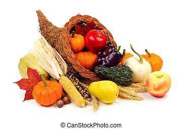 Thanksgiving cornucopia isolated on white