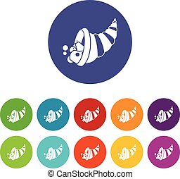 Thanksgiving cornucopia set icons
