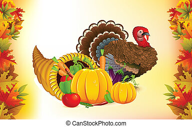 illustration of fruits and vegetable in cornucopia with turkey for Thanksgiving