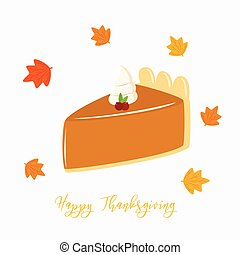 thanksgiving, couper, de, tarte citrouille