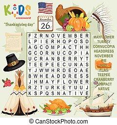 """""""thanksgiving, crucigrama, búsqueda, fácil, day"""", rompecabezas, palabra"""
